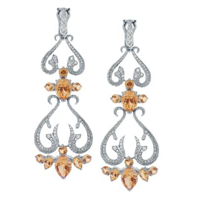 Серьги с бриллиантами и цитринами, Золото 585