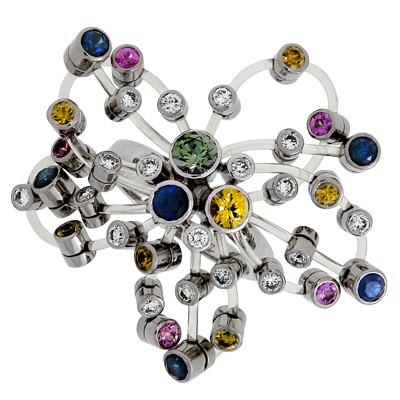 Кольцо с бриллиантами и сапфирами, Палладий 850