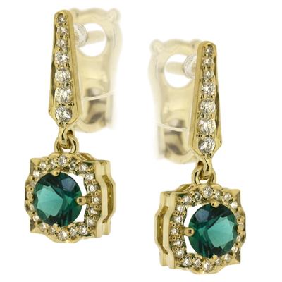Серьги с бриллиантами и изумрудом, Золото 750