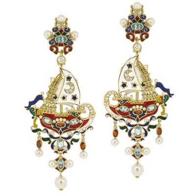 Серьги с бриллиантами, топазами, гранатами, жемчугом и эмалью, Золото 750