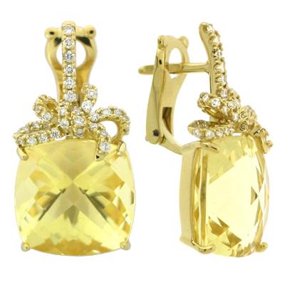 Серьги с бриллиантами и цитринами, Золото 750