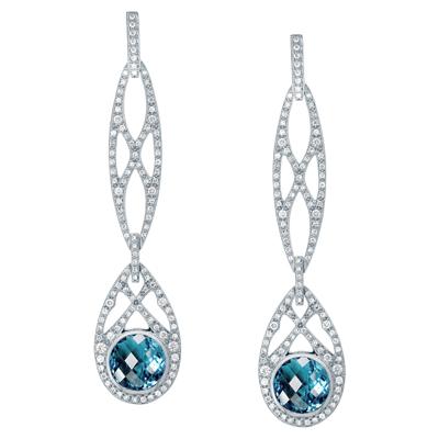 Серьги с бриллиантами и топазами, Золото 585