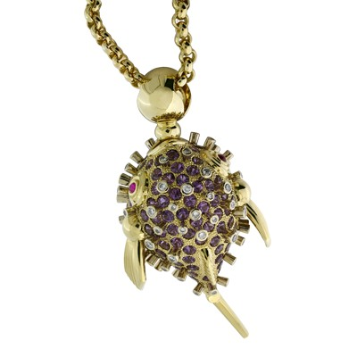 Колье с бриллиантами, рубинами и аметистами, Золото 750