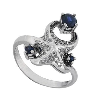 Кольцо с бриллиантами сапфирами, Палладий 850