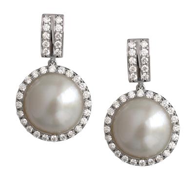 Серьги с бриллиантами и жемчугом, Золото 585