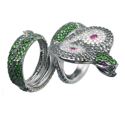 Кольцо с бриллиантами, сапфирами, рубинами и тсаворитами, Золото 585