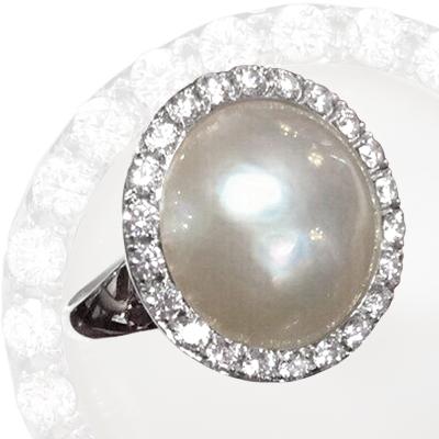 Кольцо с бриллиантами и жемчугом, Золото 585