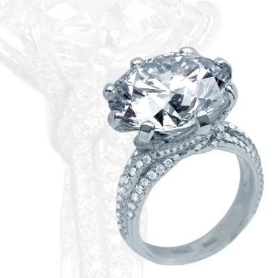 Кольцо с бриллиантами и фианитом, Золото 585