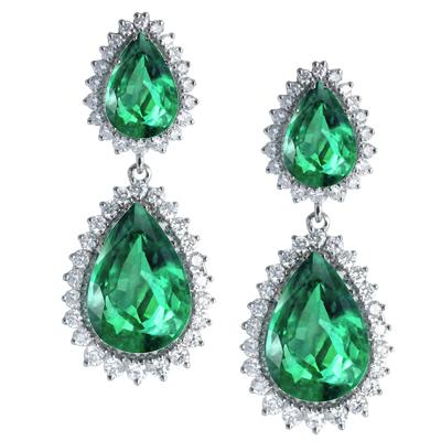 Серьги с бриллиантами и изумрудами, Золото 585