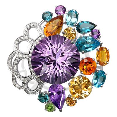 Кольцо с бриллиантами, аметистами, топазами, цитринами, Золото 585