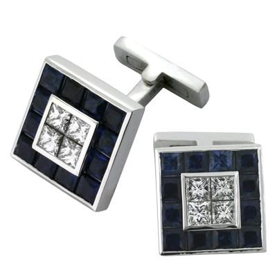 Запонки с бриллиантами и сапфирами, Золото 585