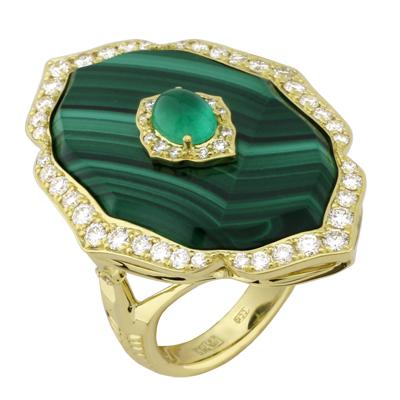 Кольцо с бриллиантами, изумрудом и малахитом, Золото 750