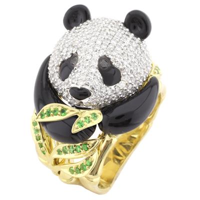Кольцо с тсаворитами и ониксом, Золото 750