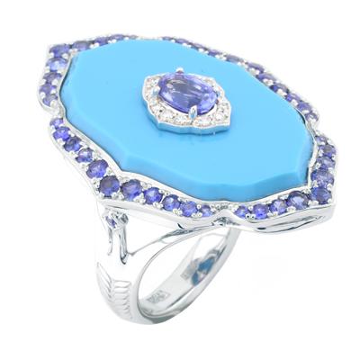 Кольцо с бриллиантами, сапфирами и бирюзой, Золото 585