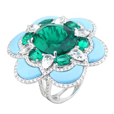 Кольцо с бриллиантами и полудрагоценными вставками , Золото 585