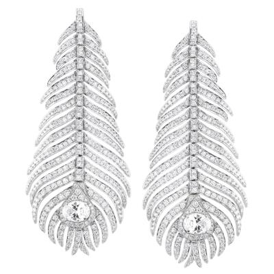Серьги с бриллиантами и горным хрусталем  , Золото 585