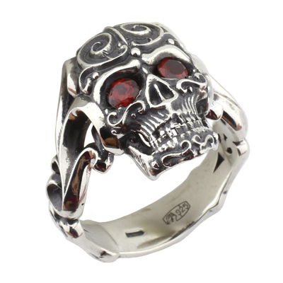 Кольцо с гранатами, Серебро 925