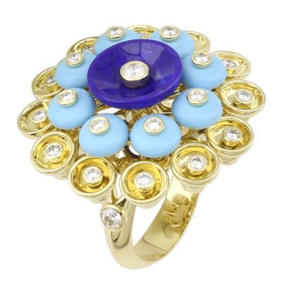 Кольцо с бриллиантами, бирюзой, лазуритом, Золото 750