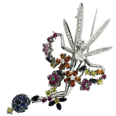 Брошь с бриллиантами, сапфирами, рубинами, гранатами, Золото 585