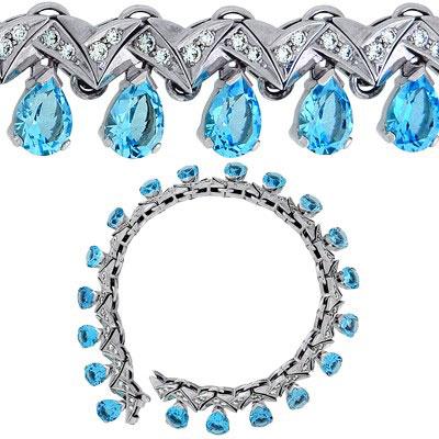 Браслет с топазами и бриллиантами, Золото 585
