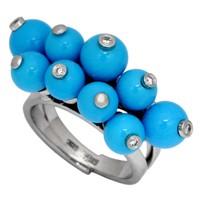 Кольцо с бриллиантами и бирюзой, Золото 585