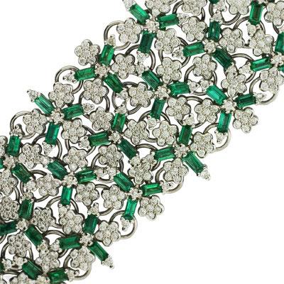 Браслет с бриллиантами и изумрудами, Золото 585