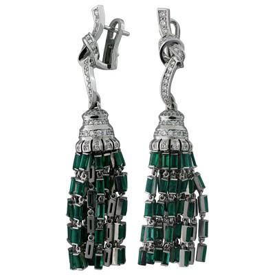 Серьги с бриллиантами и изумрудами, Золото 750