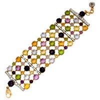 Браслет с бриллиантами и цветными драгоценными камнями, Золото 750