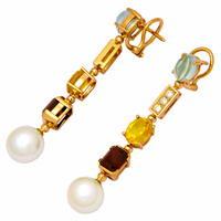 Серьги с бриллиантами, жемчугом и цветными вставками, Золото 750