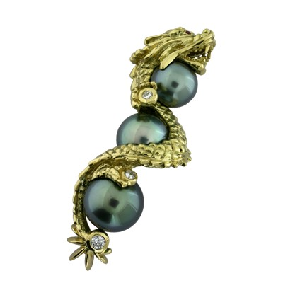Подвеска с бриллиантами, жемчугом и рубинами, Золото 750