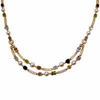Колье с бриллиантами и цветными камнями, Золото 750