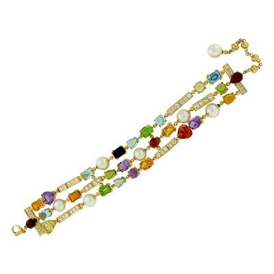 Браслет с бриллиантами и цветными камнями, Золото 750