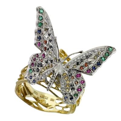 Кольцо с бриллиантами и драгоценными цветными вставками, Палладий 850, Золото 750