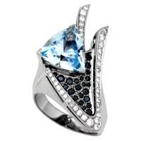 Кольцо с бриллиантами и топазом, Палладий 850