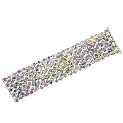 Браслет с цветными камнями, Золото 585