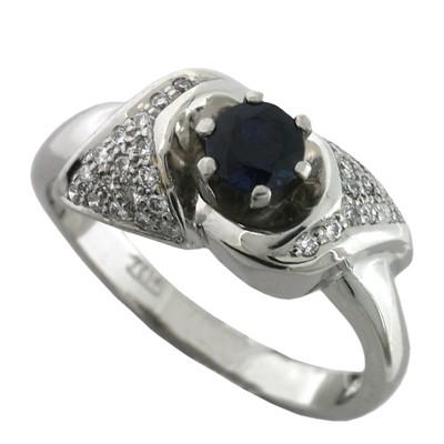 Кольцо с сапфиром и бриллиантами, Платина 950