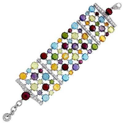 Браслет с бриллиантами и цветными драгоценными вставками, Палладий 850