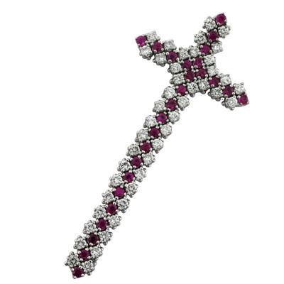 Подвеска с бриллиантами и рубинами, Золото 750