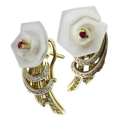Серьги с бриллиантами и драгоценными цветными вставками, Золото 750