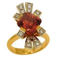Кольцо с турмалином и бриллиантами, Золото 750
