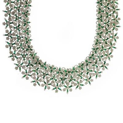 Колье с бриллиантами и изумрудами, Золото 585