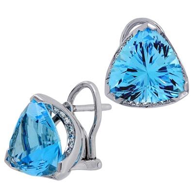 Серьги с топазами и бриллиантами, Золото 585