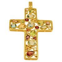 Подвеска крест с бриллиантами и цветными вставками, Золото 750