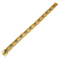 Браслет с бриллиантами и облагороженными бриллиантами, Золото 750
