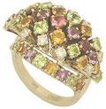 Кольцо с бриллиантами и цветными драгоценными камнями, Золото 585
