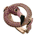 Кольцо с цветными камнями эмалью, Золото 585