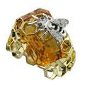 Кольцо с бриллиантами и цитрином, Золото 750
