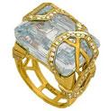 Кольцо с аквамарином и бриллиантами, Золото 750