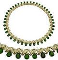 Колье с хромдиопсидами и бриллиантами, Золото 585