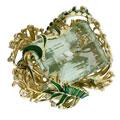 Кольцо с бериллом, бриллиантами и изумрудами, Золото 750